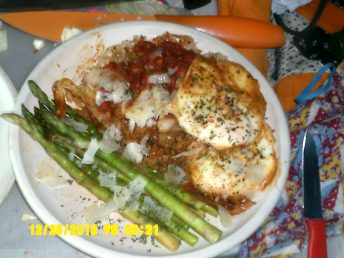 Cabbage-ettie with eggs and fresh Asparagus.
