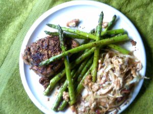 Whole  Mustard Coated Pork Chops with Asparagus and Cabbage Salad with Walnuts and Red Onion