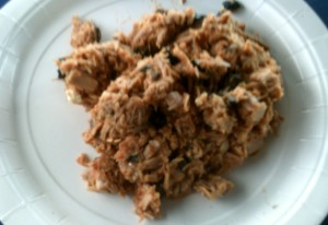 Tuna Salad with Marinara Sauce and Black Olives